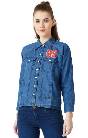 MISS CHASE | Blue Solid Denim Jacket