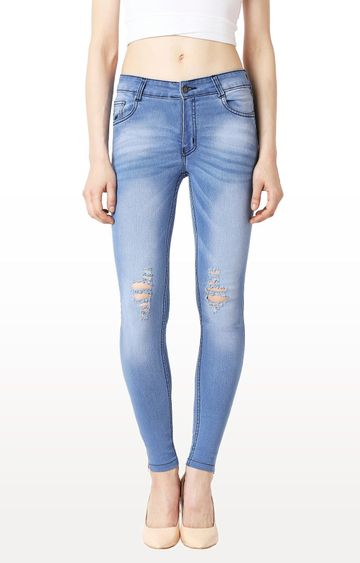 MISS CHASE | Light Blue Solid Ice Wash Mid Rise Mildly Distressed Zipper Detailing Ripped Jeans