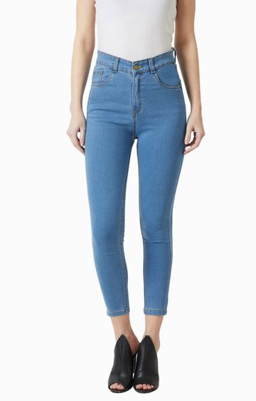 MISS CHASE | Blue Solid Tapered Jeans