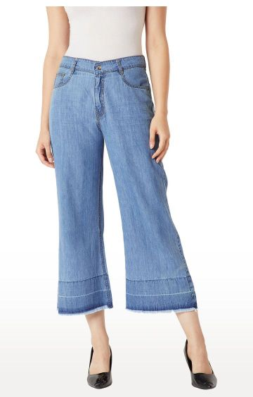 MISS CHASE | Blue Solid Flared Jeans