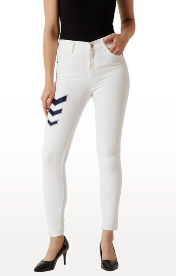 MISS CHASE | White Solid Tapered Jeans