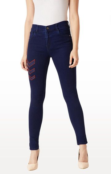 MISS CHASE | Navy Solid Tapered Jeans
