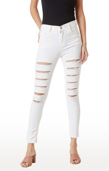 MISS CHASE | White Ripped Skinny Fit High Rise Stretchable Jeans