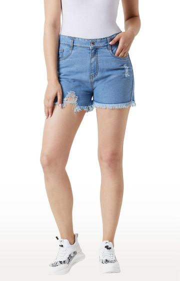 MISS CHASE | Blue Ripped Relaxed Fit Mid Rise Shorts