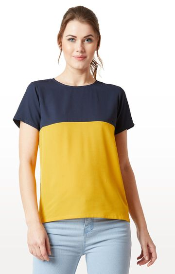 MISS CHASE | Navy and Yellow Colourblock Boxy Top