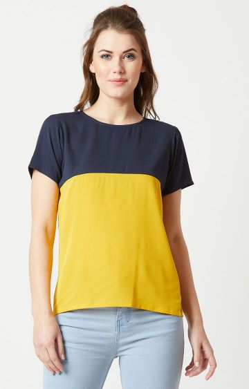 MISS CHASE | Navy and Yellow Colourblock Top