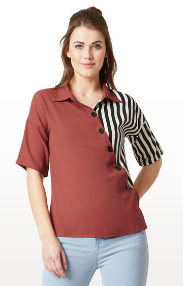 MISS CHASE | Maroon and Black Striped Paneled Drop Shoulder Top