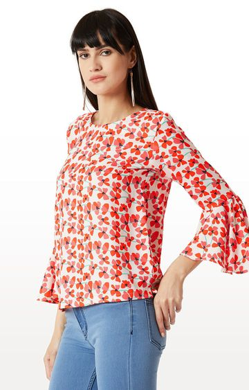 MISS CHASE | White and Pink Floral 3/4th Sleeve Ruffled Top