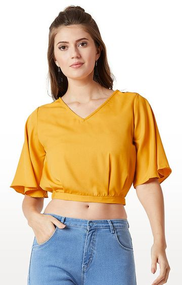 MISS CHASE | Mustard Solid Crop Top
