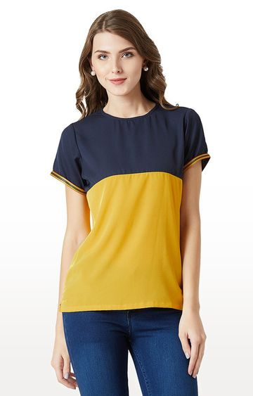 MISS CHASE | Navy and Mustard Colourblock T-Shirt