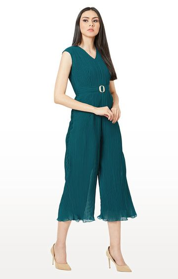MISS CHASE | Emerald Green Solid Jumpsuit