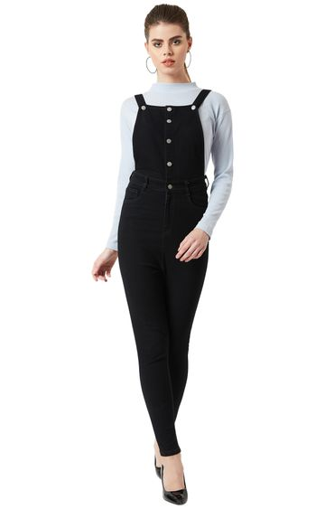 MISS CHASE | Black Solid Dungarees