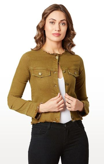 MISS CHASE | Olive Solid Denim Jacket