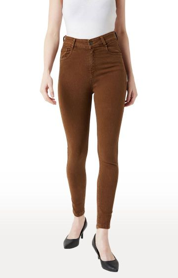 MISS CHASE | Brown Solid Tapered Jeans
