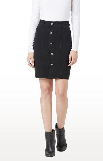 MISS CHASE | Black Solid Regular Fit Skirt