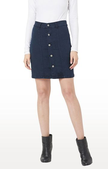 MISS CHASE | Navy Solid Regular Fit Skirt