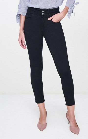 AND | Black Solid Cropped Jeans