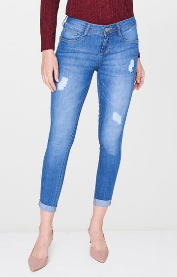 AND | Blue Ripped Tapered Jeans