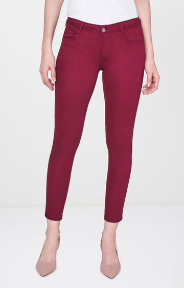 AND | Maroon Solid Tapered Jeans