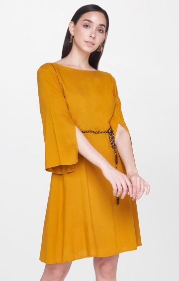 AND | Mustard Solid Shift Dress