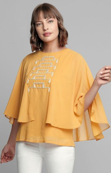 AND | Yellow Embroidered Top