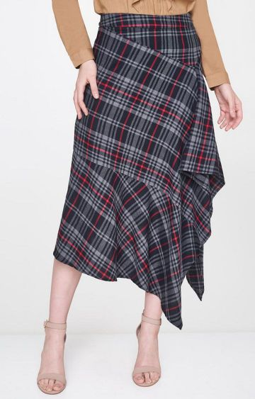 AND | Black Checked Asymmetric Skirt