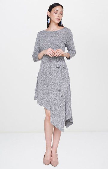 AND | Light Grey Melange Asymmetric Dress