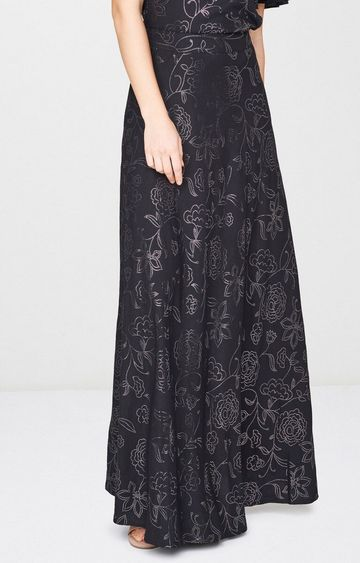 AND | Black Printed Flared Skirt
