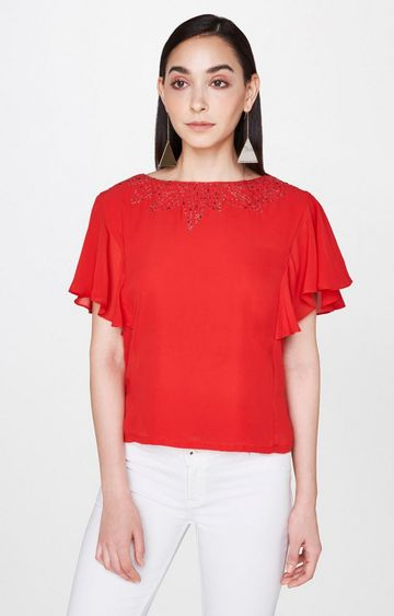 AND   Red Solid Top