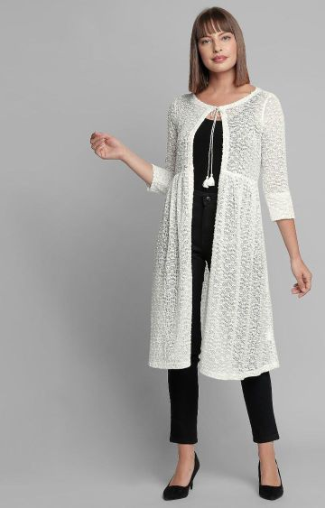 AND | White Embroidered Shrug