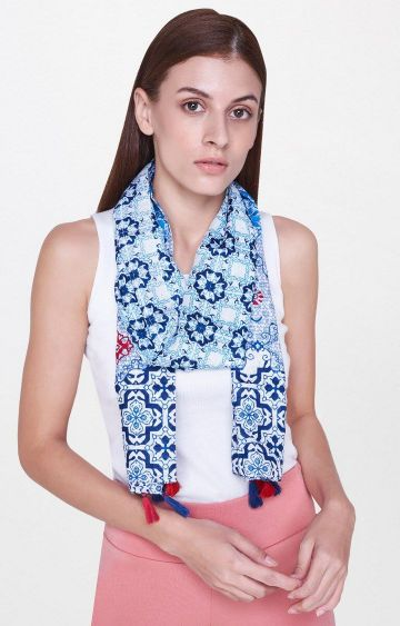 AND | Blue Printed Scarf