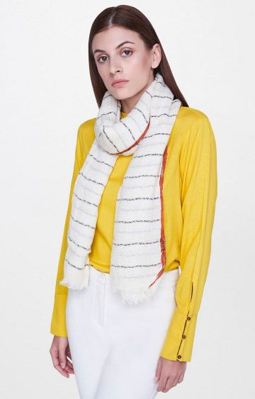 AND | Beige Striped Scarf
