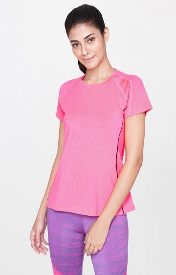 AND | Pink Solid T-Shirt