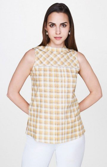 AND | Yellow Checked Top