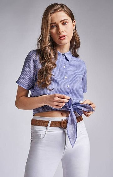 AND | Blue and White Striped Top