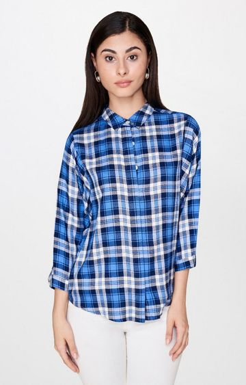 AND | Blue Checked Casual Shirt