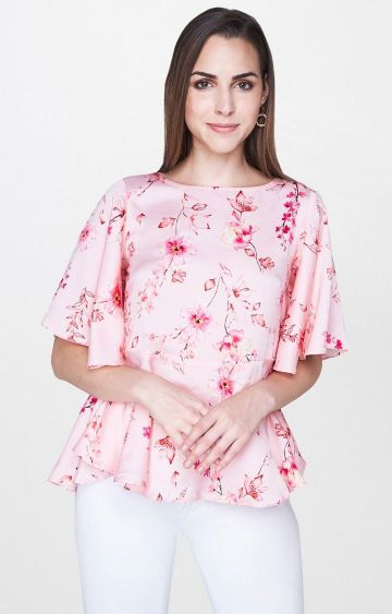 AND | Peach Floral Peplum Top