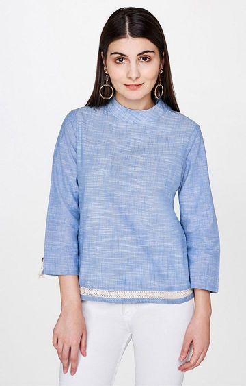 AND | Blue Melange Top