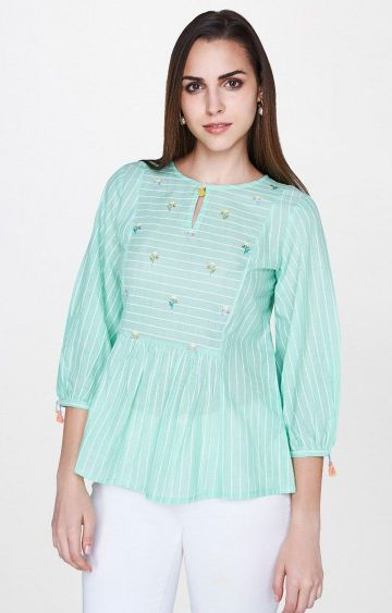 AND | Green Striped Peplum Top