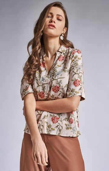 AND | Peach Floral Top