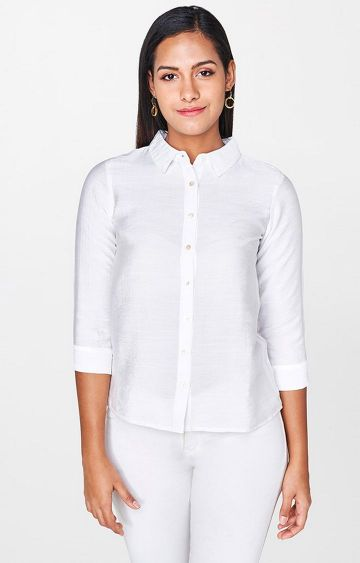 AND | White Solid Casual Shirt