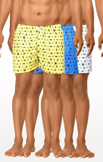 La Intimo | Blue, White and Yellow Printed Boxers - Pack of 3