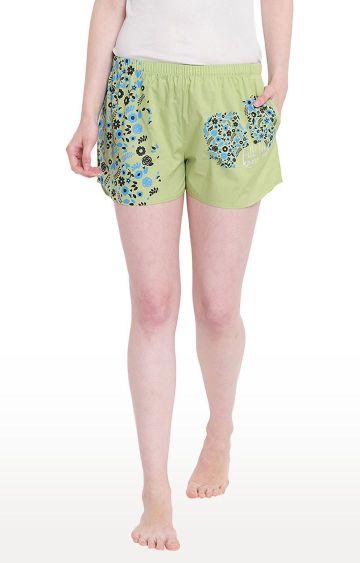 La Intimo | Pista Green Printed Shorts