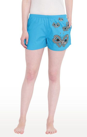 La Intimo | Royal Blue Printed Shorts