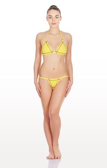 La Intimo | Yellow Triangle Non Padded Lingerie Set