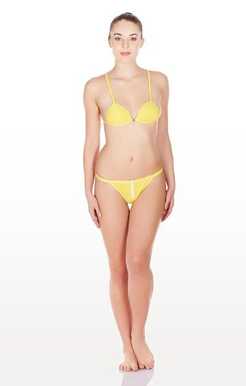 La Intimo | Yellow Zipper String Lingerie Set