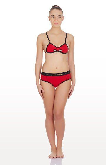 La Intimo | Red Hole In a Bikini Lingerie Set