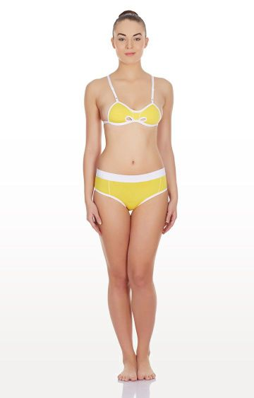 La Intimo | Yellow Hole In a Bikini Lingerie Set