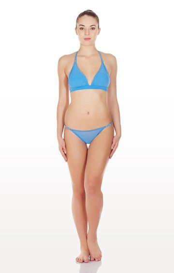 La Intimo | Blue Mesh Bikini Lingerie Set