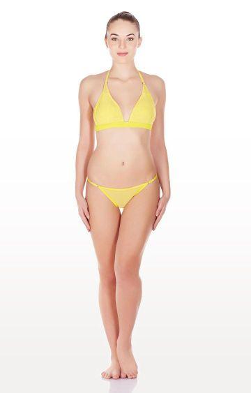 La Intimo | Yellow Mesh Bikini Lingerie Set